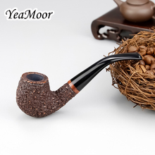 Classic Carven Smoking Pipe Handmade 9mm Filter Briar Wood Bent Carved Tobacco (20 filters 50 cleaners free)