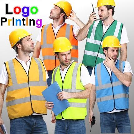 SPARDWEAR Hi vis reflective safety vest company printing logo safety reflective vest print logo free shipping men abstract print plain vest