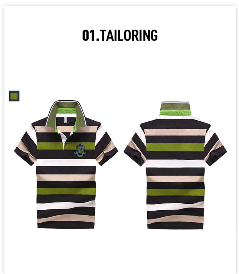 92% Cotton camisa Men Polo Shirt  2015 Casual Striped Slim short sleeves ASIAN SIZE M-4XL 17