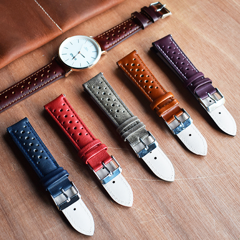 Onthelevel Handmade Vintage 19mm Watch Strap 18mm 20mm 22mm Leather Strap Breathable Bracelet Porous Watchbands # C