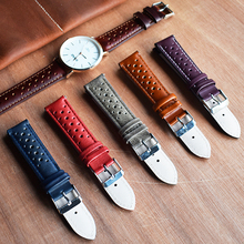 Onthelevel Handmade Vintage 19mm Watch Strap 18mm 20mm 22mm Leather Breathable Bracelet Porous Watchbands # C