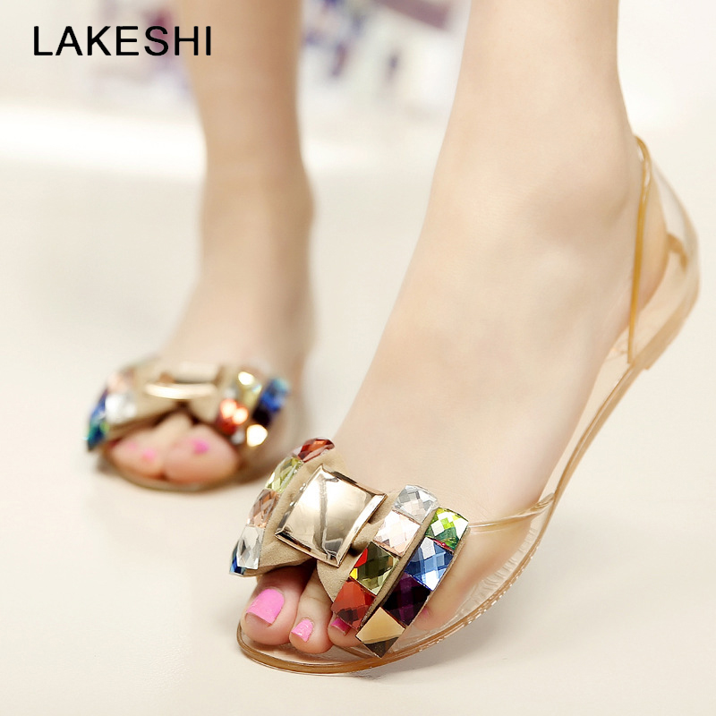 LAKESHI Women Sandals Summer Style Jelly Shoes Bling Bowtie Woman Casual Peep Toe Sandal Crystal Flat Shoes Size 35-40 summer 2017 new color crystal bling sandals woman anti skid hole jelly shoes flat garden beach rain shoes