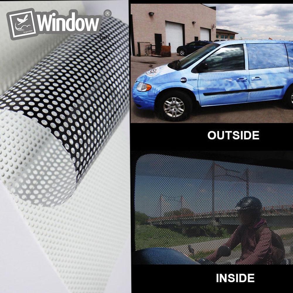 Film pour vitre arrière de voiture imprimé, Film pour pare-brise arrière blanc, Vision unidirectionnelle, teinte 1,37x0,5 m