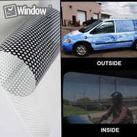 Car Rear Window Glass Printed Styling Film Rear Windshield White One Way Vision Mesh Film Tint 1.37x0.5m