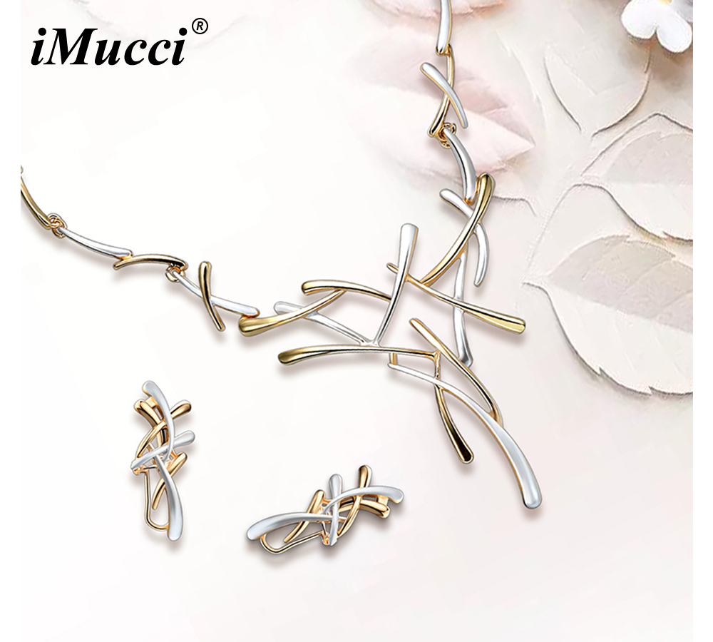 iMucci JEWELS Luxury Trendy Gold And Silver Color Earring Stud/Necklace Bijoux Female Jewelry Sets For Women Fashion Jewellery