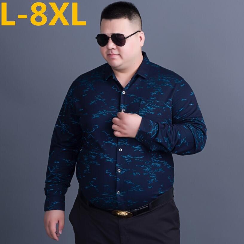 2018 Longues Manches Slim Fit 2 1 3 À 7xl Imprimé 6xl 8xl Hommes Chemises Casual De Camisa Masculina Floral Nouveau Chemise Hawaïenne r70w8r