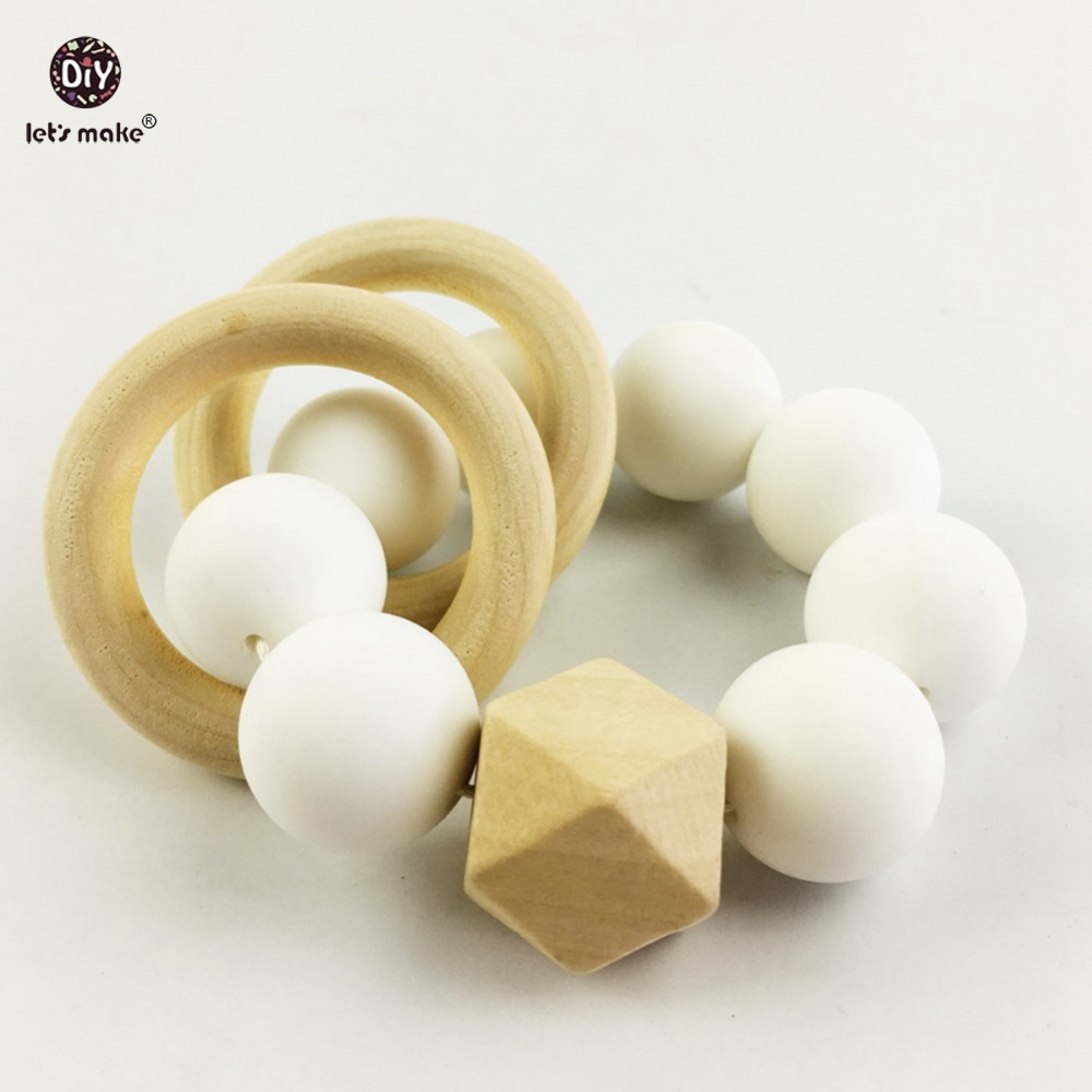 Lets Make Silicone Teether Baby Bracelet Wooden Ring Teether Nature Safe Organic  Infant Toy Montessori/Waldorf Toy Baby Gift