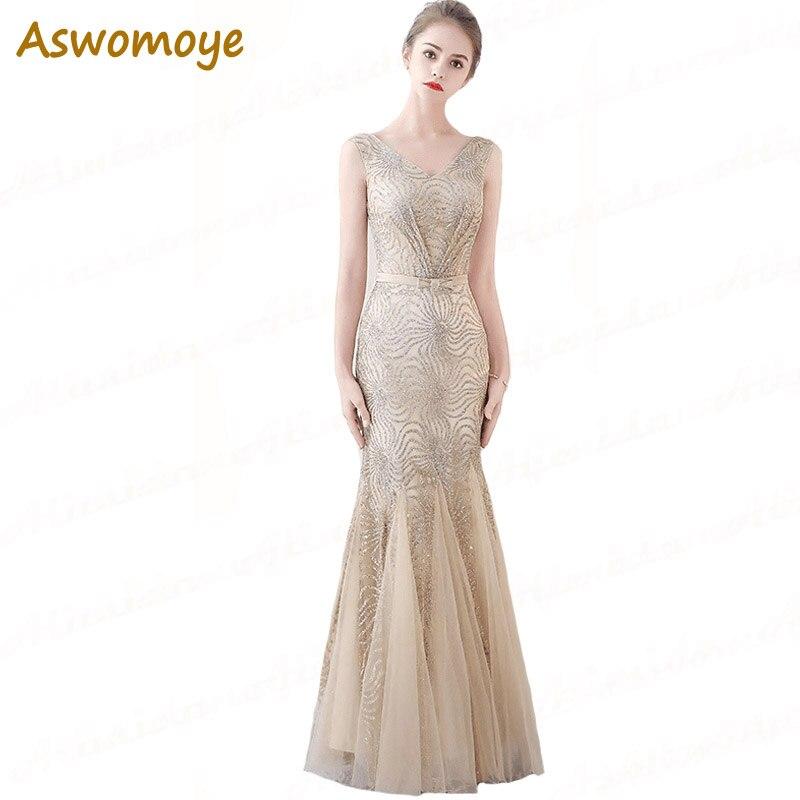 Aswomoye Stunning   Evening     Dress   Long 2018 Elegant Sequins Party   Dress   Mermaid Banquet Prom   Dress   vestido de festa