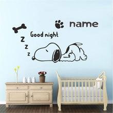 Anpassbare name cartoon hund wand aufkleber kinderzimmer baby zimmer boy schlafzimmer home dekoration vinyl wand abziehbilder ER68