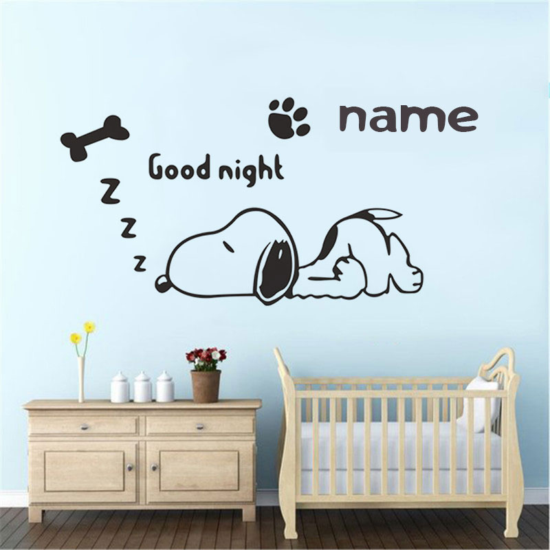 Customizable name cartoon dog wall stickers children's room baby room boy bedroom home decoration vinyl wall decals ER68-in Wall Stickers from Home & Garden