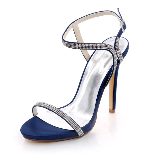 fbaffb2ed858d Creativesugar concise design sexy rhinestone crystal thin band lady satin  evening dress sandals summer high heel shoes navy blue