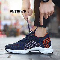 Misalwa 2019 Summer Fashion Men Elevator Shoes Flyknit Light Invisible Height Increasing 6 CM Casual Shoes Male Sneaker Hombre