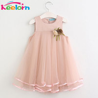 Keelorn Girls Dress 2017 Brand Princess Dresses Sleeveless Appliques Floral Design For Girls Clothes Party Dress