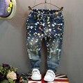 Детская Одежда 2016 мода Осень новых девушек/мальчиков джинсы личности джокер небольшие прямые брюки случайные Дети джинсы горячей продажи