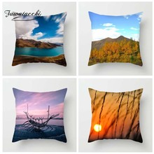 Fuwatacchi Scenic Printed Cushion Cover Sunset Ocean Lake Forest Pillow Cover Hot Air Balloon Decorative Pillowcase for Home Car