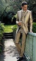 Custom made Unique Design Hot Sale Male Suits Gold Groomsman Tuxedos Men Wedding Suits(Jacket+Pants+Vest)