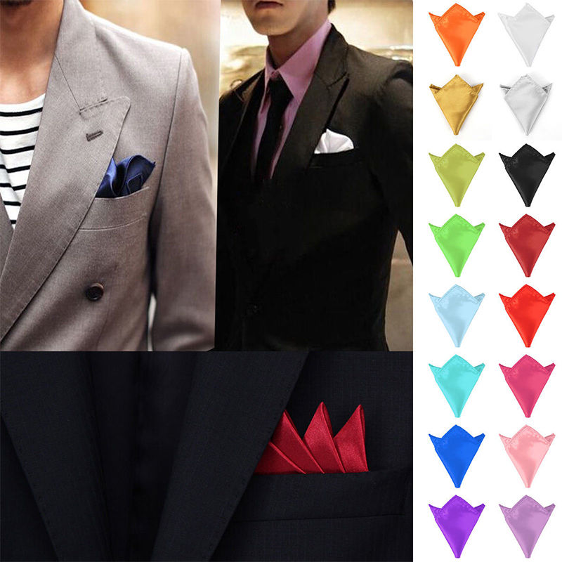 Hot 1Pc New Men Fashion Plain Solid Color Silk Satin Pocket Square Handkerchief For Wedding Formal Party Cool