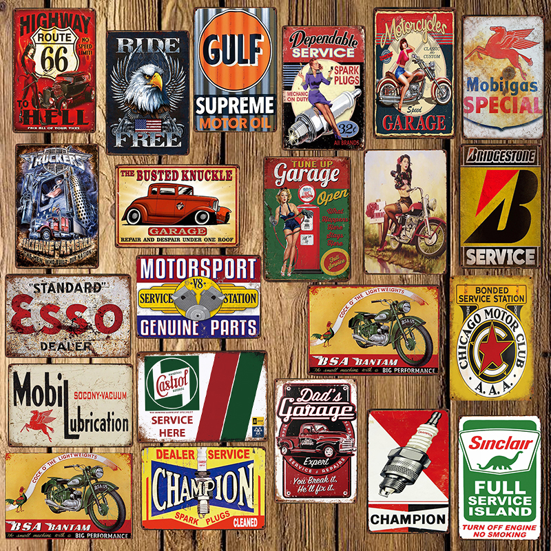 Antique Signs Bowling Coffee Music Gas Station Dad/'s Garage Barber 3D Stickers