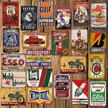 [Mike86] aceite de Motor garaje campeón Mobil de la Ruta 66 estaño signo papá decoración neumático Poster pintura Metal FG-213