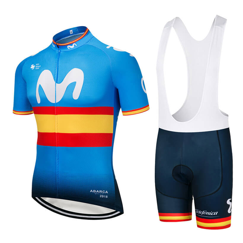 NEW! UCI EUROPE TOUR movistar team Spanish Professional champion ciclismo ropa cycling jersey High-quality Customizable