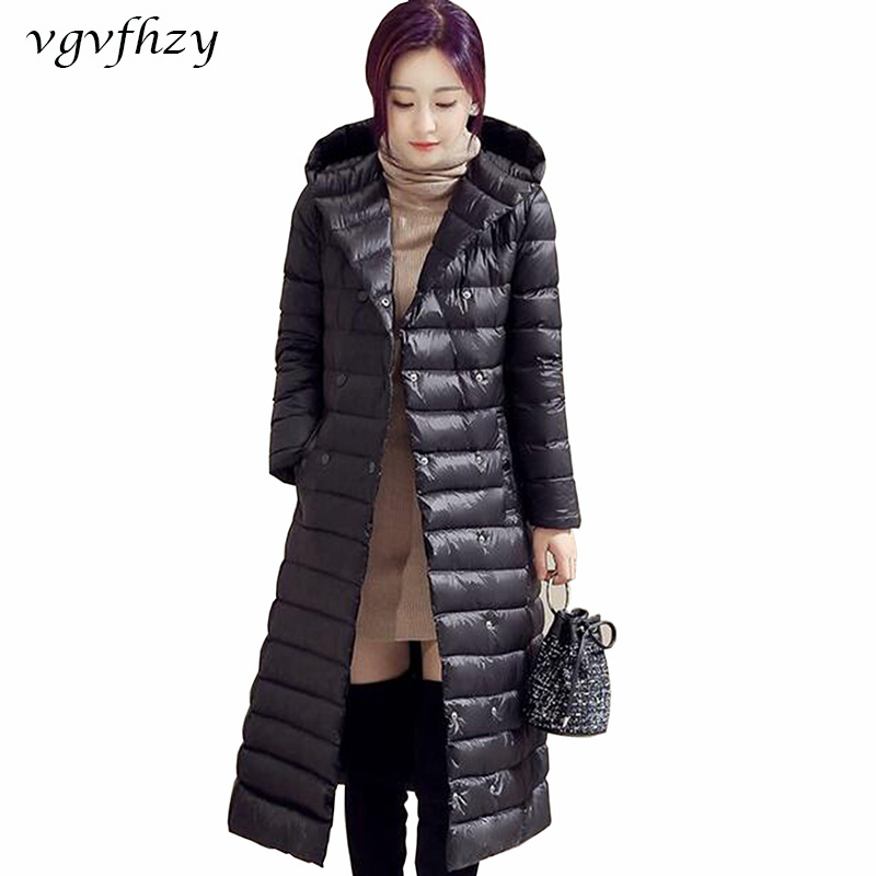2017 Frauen Weiße Ente Daunenjacke Mit Kapuze Warme Wintermantel Frauen Lange Gepolsterte Frauen Jacken Plus Größe Abrigo Mujer Mantel Ly578