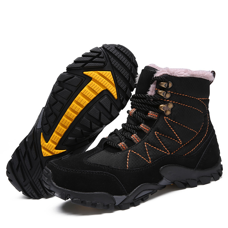 Winter men Boots Winter men Shoes Plus Size Leather high-top casual shoes with cotton shoes to keep warm and velvet men's boots simple men s casual shoes with criss cross and color block design