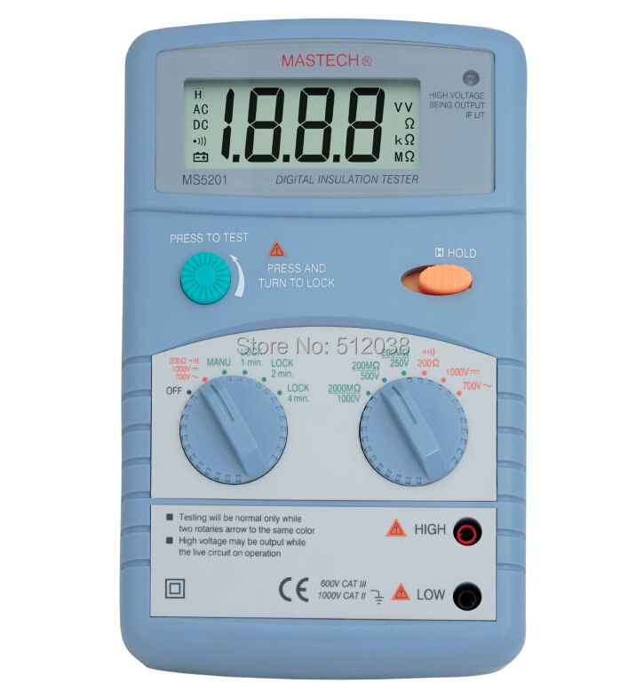 MS5201 Digital Insulation Tester AC/DC Voltage Detector with Alarm mastech ms5201 digital megger megometro mega ohm insulation resistance tester ac dc voltage detector with alarm