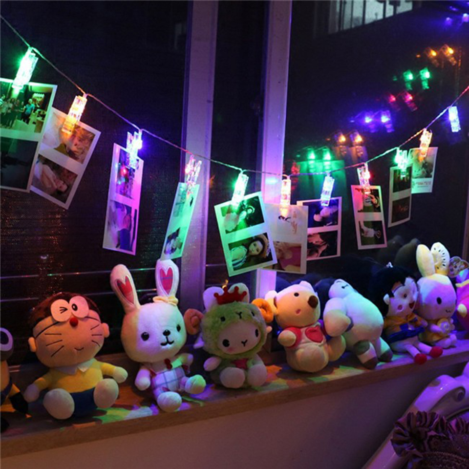 USB / battery-powered Card Photo Clip String Lights Colorful Crystal Festival Party ...
