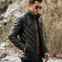 FLAVOR Mens Real Leather Down Jacket Men Genuine Lambskin Winter Warm Leather Coat with Removable Standing Sheep Fur Collar