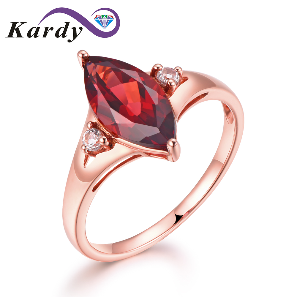 Amazing Unique Natural Garnet Gemstone Marquise Solid 14K Rose Gold Wedding Engagement Diamond for Fashion Women Band Ring