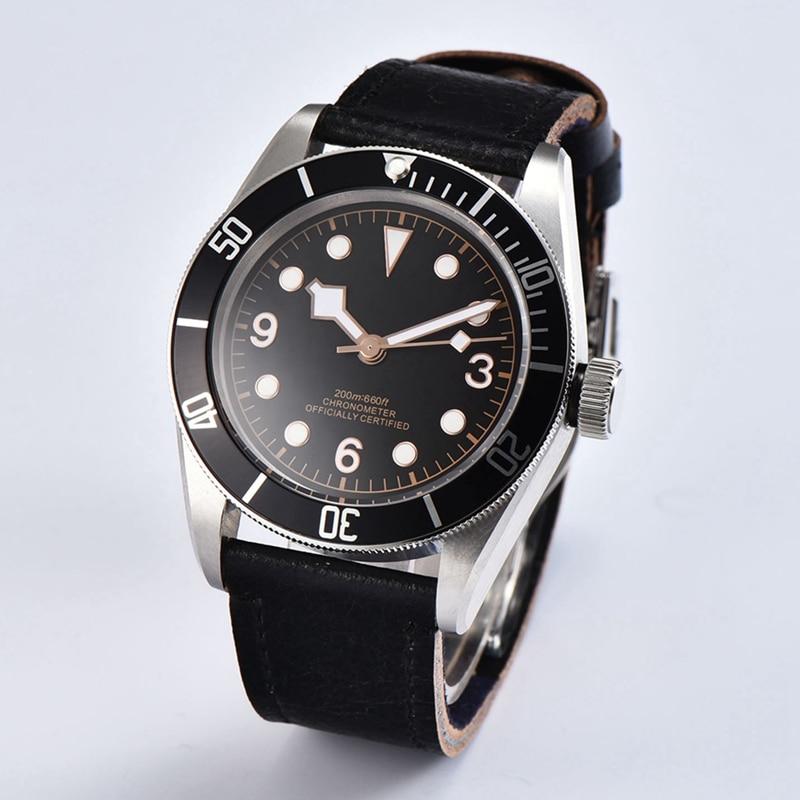 41 мм Мужские часы, черный стерильные светящийся циферблат ободок наручные сапфир Стекло Miyota 8215 движение часы WCA2010BSR