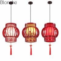 Китайский Стиль деревянные подвесные светильники Винтаж овчины подвесной светильник Led Фонари домашнего декора для ресторана Освещение в
