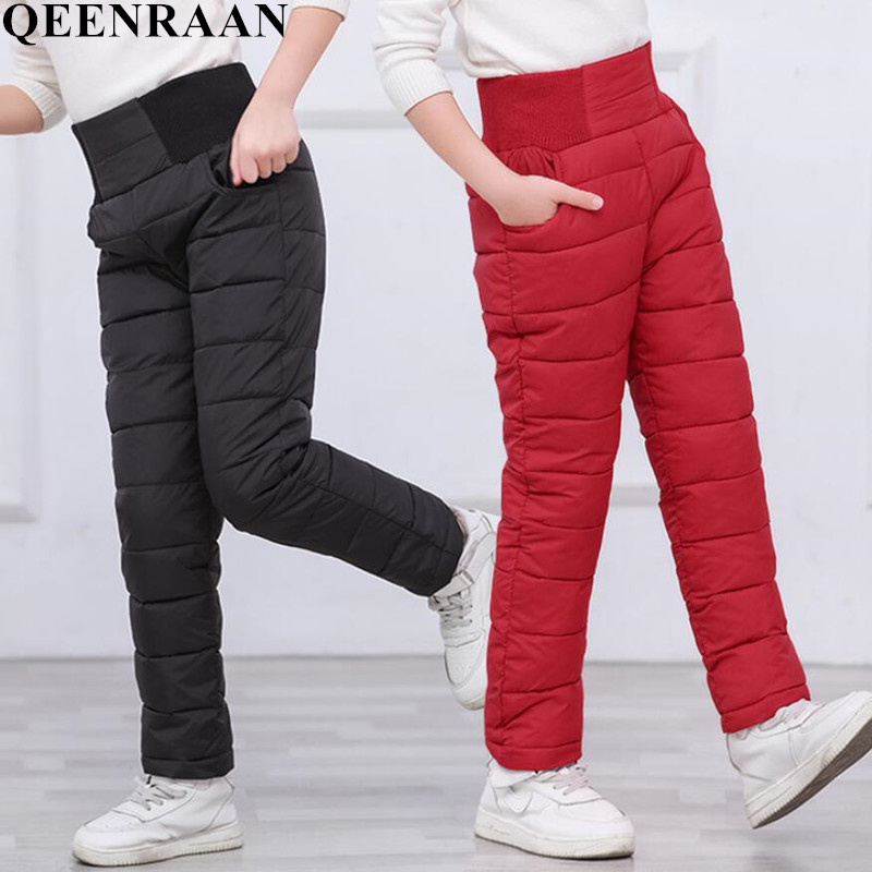 Fashion Girls Boy Pants Winter Padded Thick Warm Trousers Kids Babys Boy Cotton Pants Casual Children's High Waist Leggings Pant sosocoer boys jeans kids clothes winter thick warm boy cowboy pants high quality girls trousers fashion casual children costume
