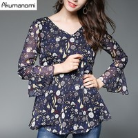 Autumn Winter Print Chiffon Blouse V Neck Flare Nine Quarter Sleeve Loose Women Clothes Tops Spring