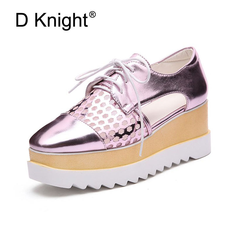 Newest Oxfords Platform Shoes Woman Summer Casual Creepers Lace Up Cut-outs Wedges Fashion Thick Bottom Women Pumps Brogue Shoes ladies casual platform wedges oxford shoes for women metallic pu cut outs women high heels summer brogue oxfords shoes woman
