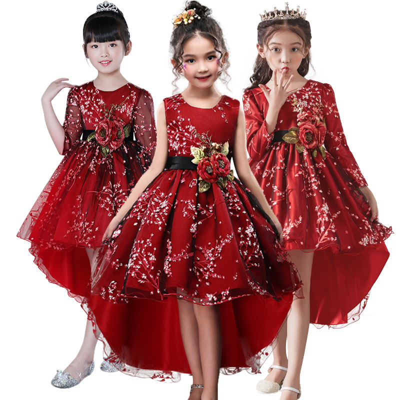 Flower girl dress for Girls Clothes Plum wine Red Wedding dress Trailing Children Kids Party Dress baby Girls Princess dress girl