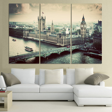 (No Frame)City building and Bridge 3 Panels/Set Large HD Picture Canvas Print Painting Artwork Wall Decorative Oil painting