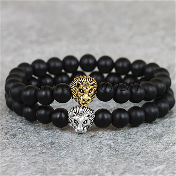10pc Gold Or Silver Plated Lion Head Men S Beaded Bracelet Whole 8mm Natural Matte Black Agate