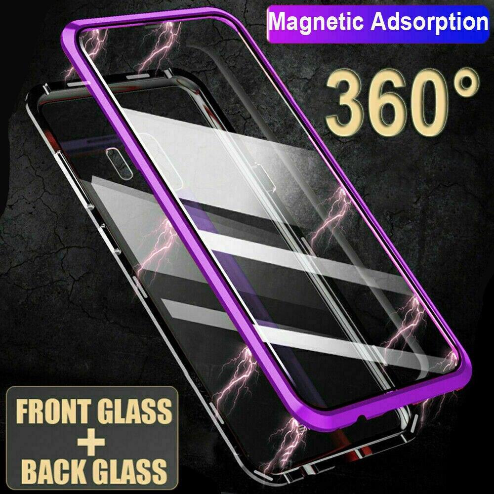 Double face en verre Magnétique étui pour samsung A80 A70 A60 A50 A40 A30 A7 A9 2018 En Aluminium métal 360 degrés Couverture Complète Étui
