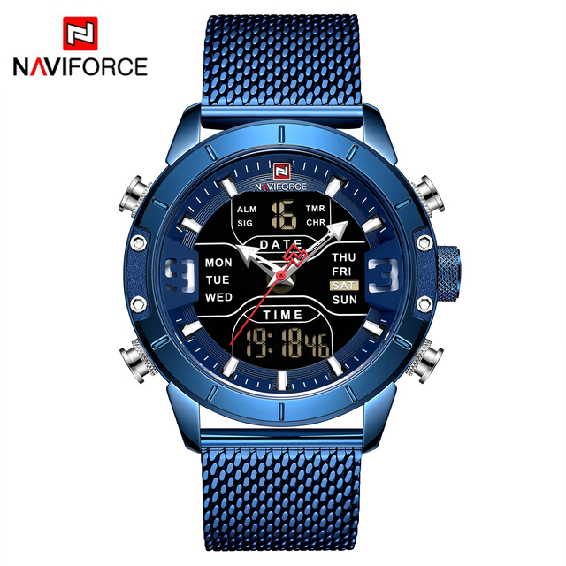 NAVIFORCE Men's Dual Display Mesh Belt Military Waterproof LED Clock Sports Quartz Watches 5