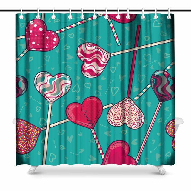 Aplysia Heart Shaped Lollipop Candy Pattern For ValentineS Day Fabric Bathroom Shower Curtain Decor Set With Hooks