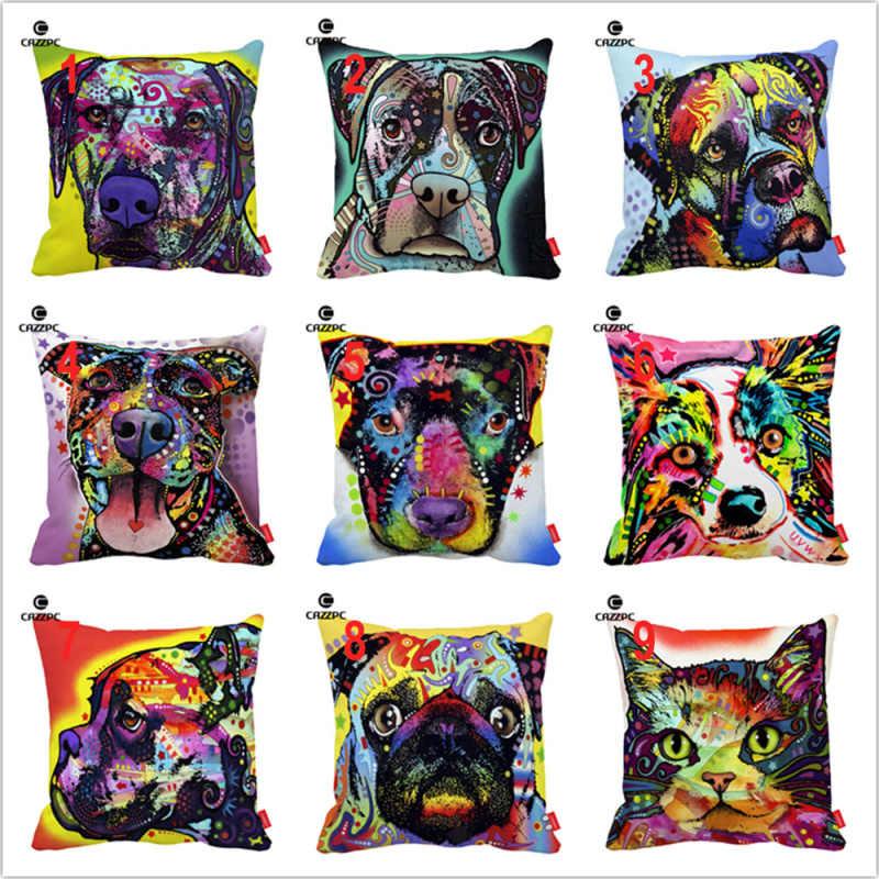 عميد روسو فن القط بوكسر الدرواس بيتبول الصلصال الكلب الطباعة مخصص الديكور المخدة وسادة تغطي أريكة كرسي ديكور المنزل
