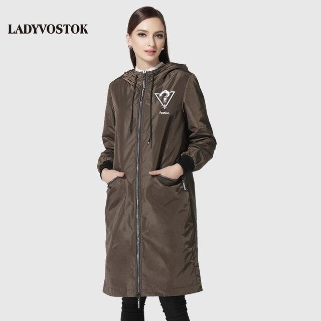 LADYVOSTOK женское пальто модный ветровка мода гарнитура женщины досуг длинный абзац шляпа колено 17-092