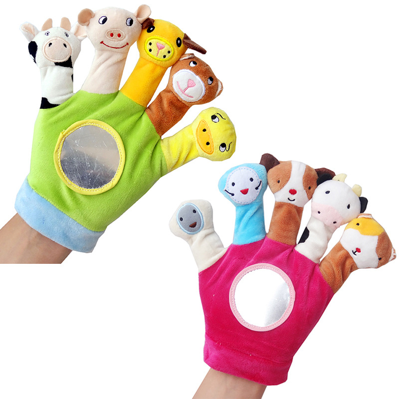 MYHOESWD Cute fingers Animal Hand Puppets for Kids Plush Toys Mini Doll Family Finger Puppets Glove Hand Puppe Toys for Sleeping
