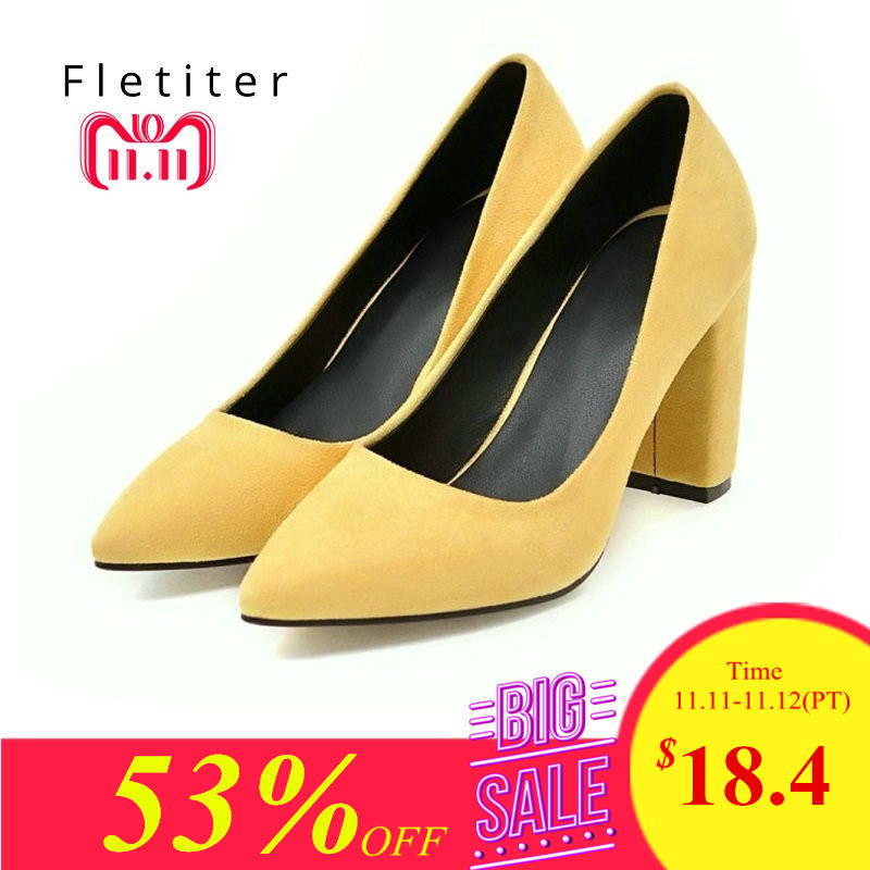 Women Pumps Ruffles Spring Autumn Shallow Pointed Toe High heel Shoes  yellow Flock Square Heels Pumps a34150da7b76
