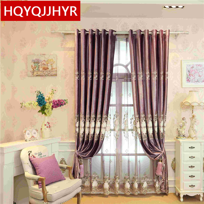 European luxury noble purple embroidered Full Blackout curtains for Living Room Luxury Tulle for Bedroom Window Curtain Kitchen