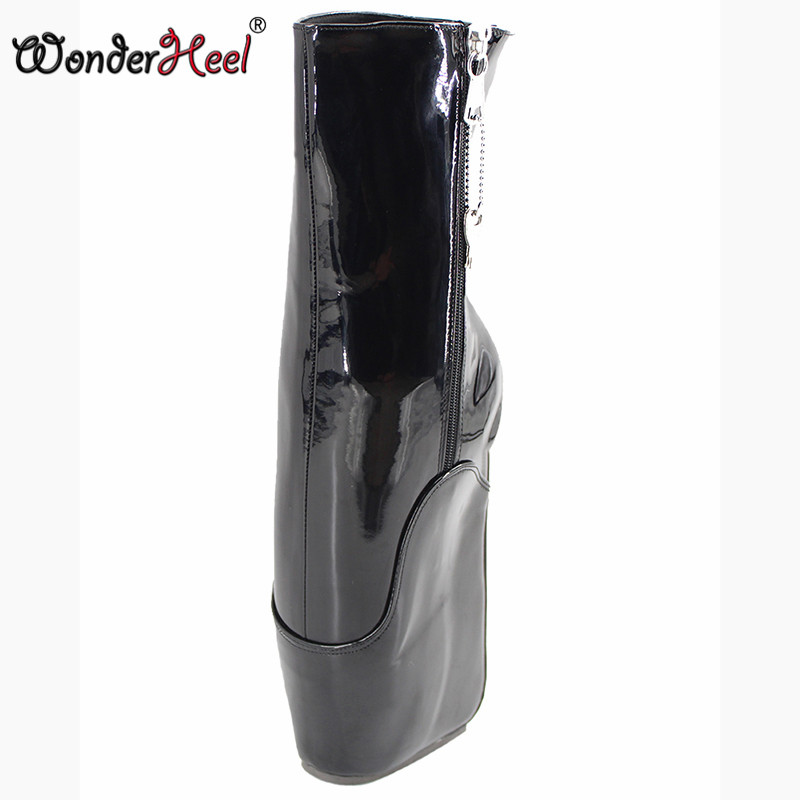 Wonderheel new short ballet boots 7 wedge heel with lockable zip patent black fashion sexy fetish