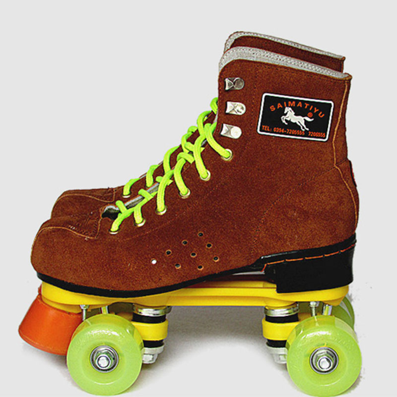 NEW Women Men's Outdoor Indoor Quad Roller Skates Boots Shoes Brown Lace-up Skating Shoes 72mm 85a outdoor roller skates brake pulley wheel blue black yellow