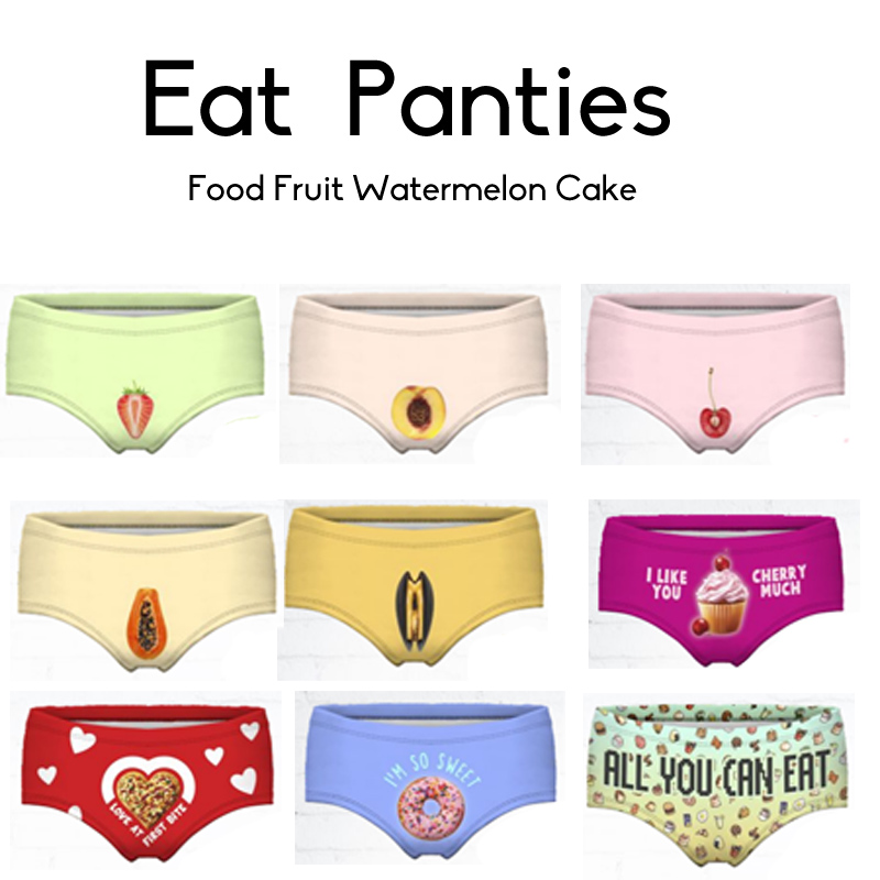Fruit  Sexy  Panties 3D Printing Fruit  Sexy Cake Women's Briefs Thong Bragas Culotte Femme Sexy Panties For Women Erotic