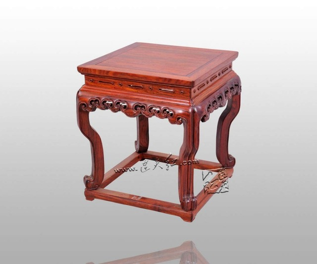 RuYi Cloud Grain Stools Living Room Shoes Storage Bench Foot Stools  Ottomans Outdoor Burma Rosewood Chinese